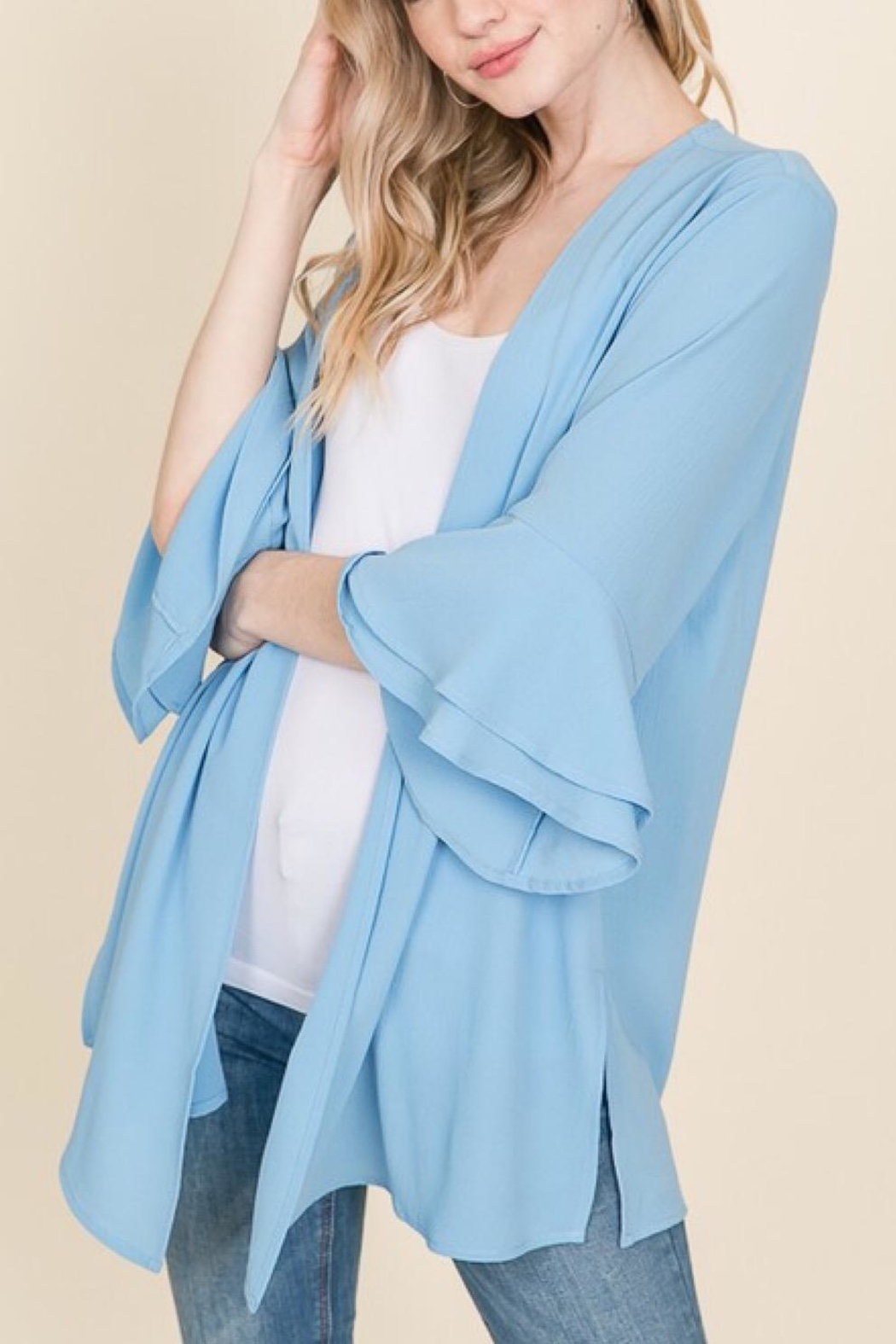 Racheal Misty Blue Cardigan - Front Full Image
