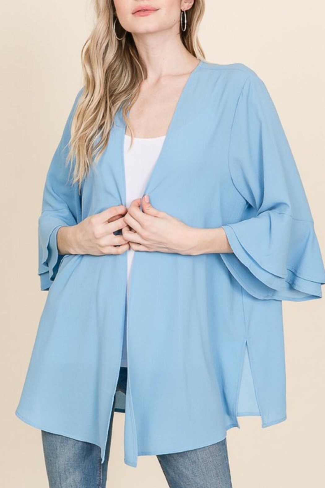 Racheal Misty Blue Cardigan - Back Cropped Image