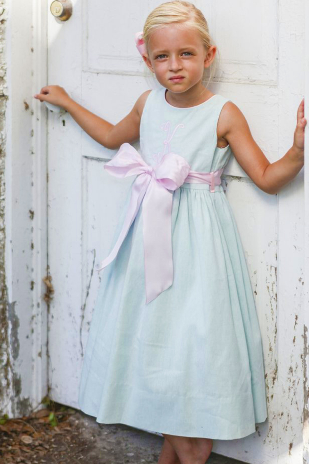 Bailey Boys Misty Blue Linen Empire Dress - Front Full Image