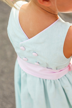 Bailey Boys Misty Blue Linen Empire Dress - Product List Image