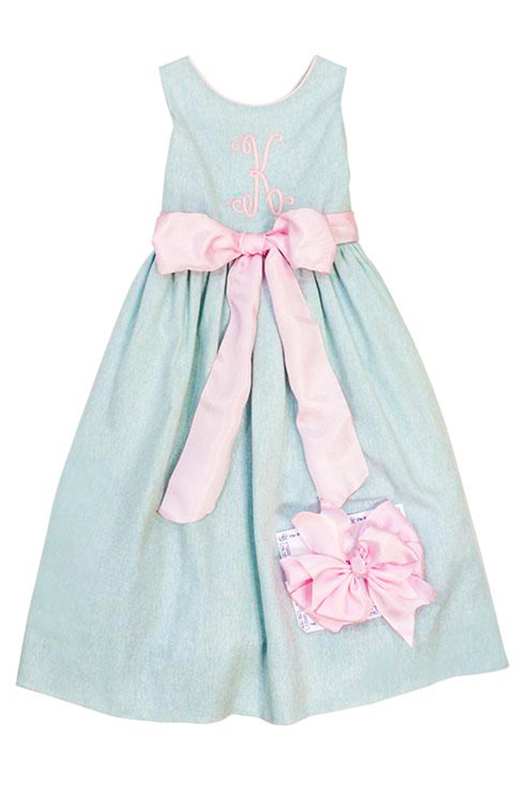 Bailey Boys Misty Blue Linen Empire Dress - Back Cropped Image
