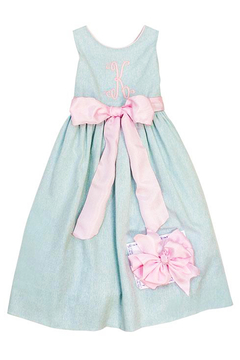 Bailey Boys Misty Blue Linen Empire Dress - Alternate List Image