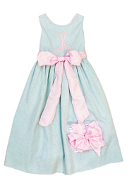 Bailey Boys Misty Blue Linen Empire Dress - Back cropped