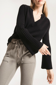 rag poets Misty Notched Collar Deep V Bell Slv Sweater - Product Mini Image