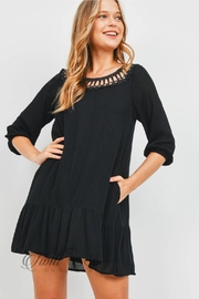 Mitto Shop Black Crochet Dress - Front cropped