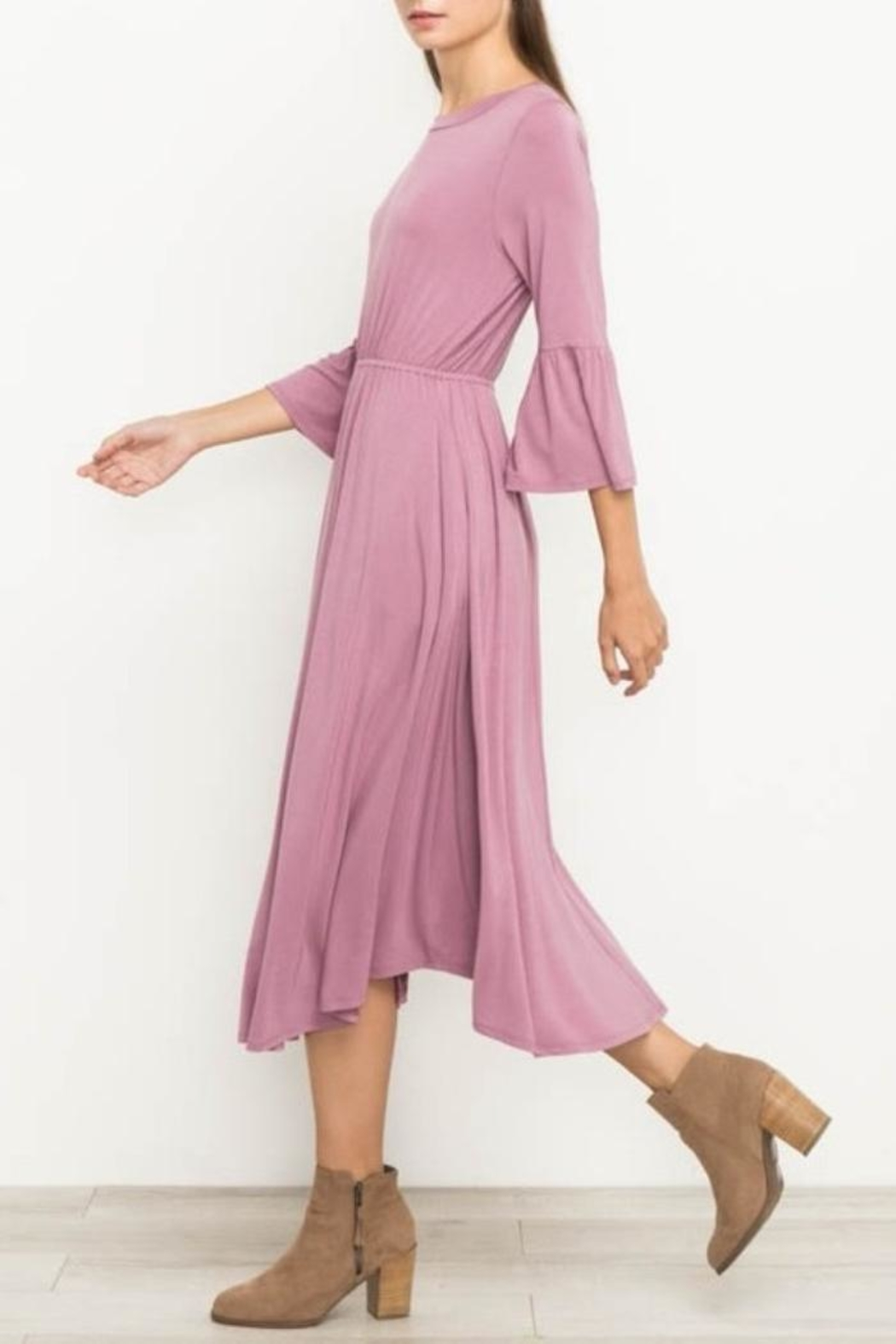 Mittoshop Bell Sleeve Dress - Side Cropped Image