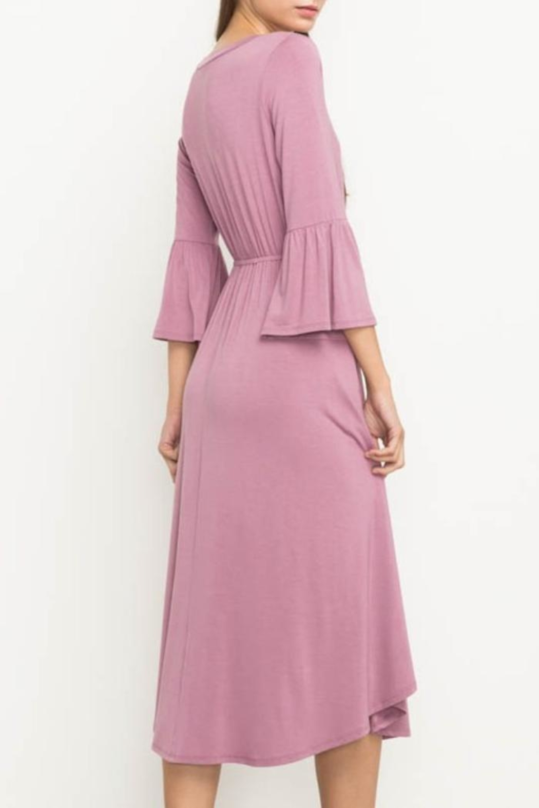 Mittoshop Bell Sleeve Dress - Back Cropped Image
