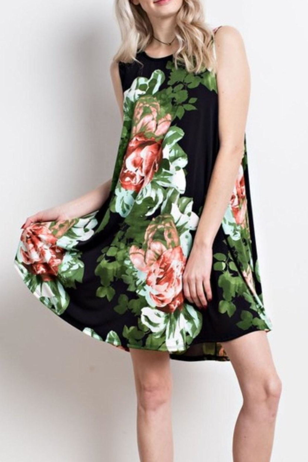 Mittoshop Black Floral Dress - Side Cropped Image