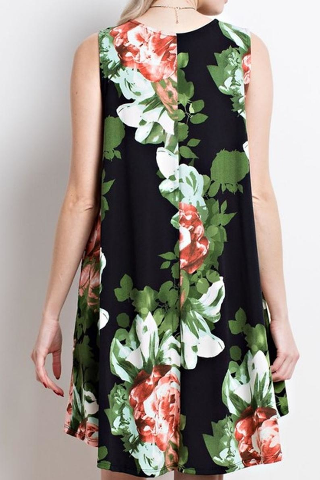 Mittoshop Black Floral Dress - Front Full Image