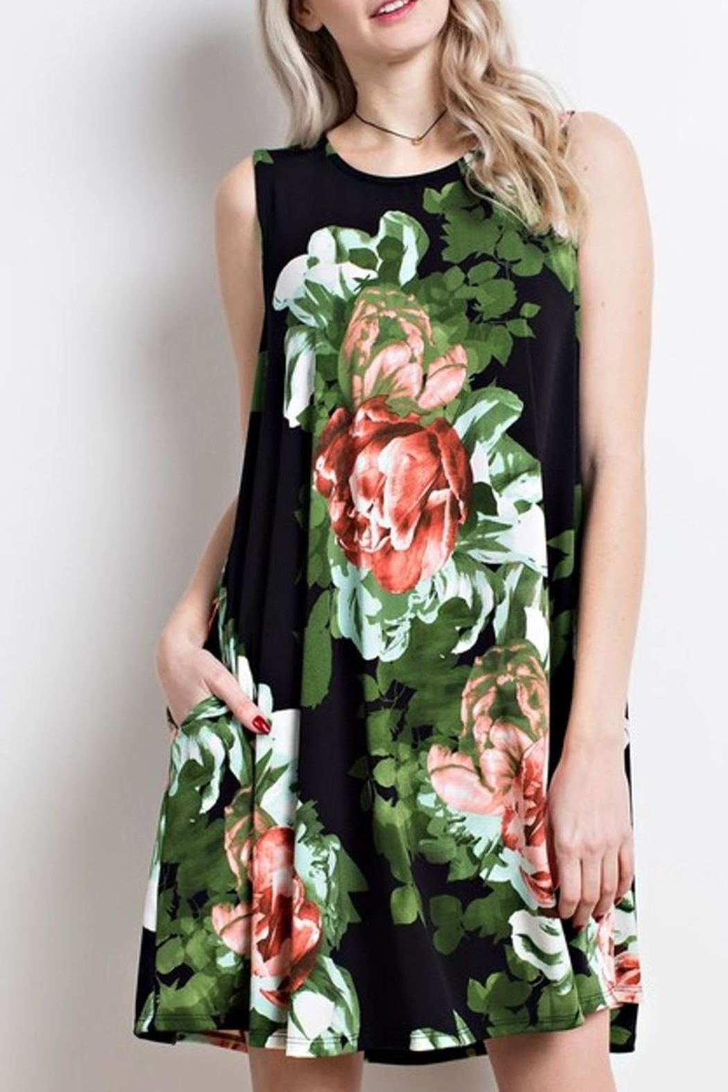 Mittoshop Black Floral Dress - Main Image
