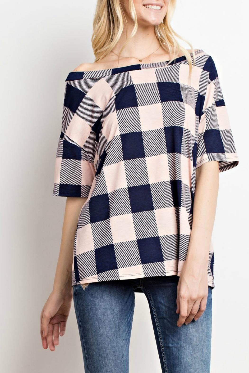 Mittoshop Blush Plaid Top - Front Cropped Image