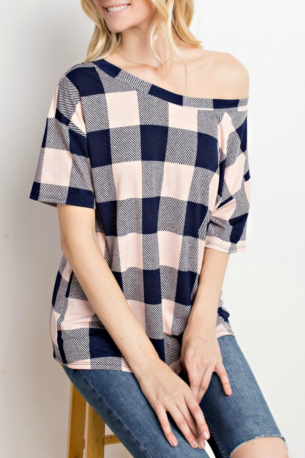 Mittoshop Blush Plaid Top - Side Cropped Image