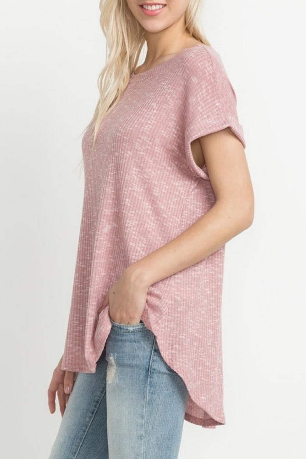 Mittoshop Blush Ribbed Tee - Front Full Image