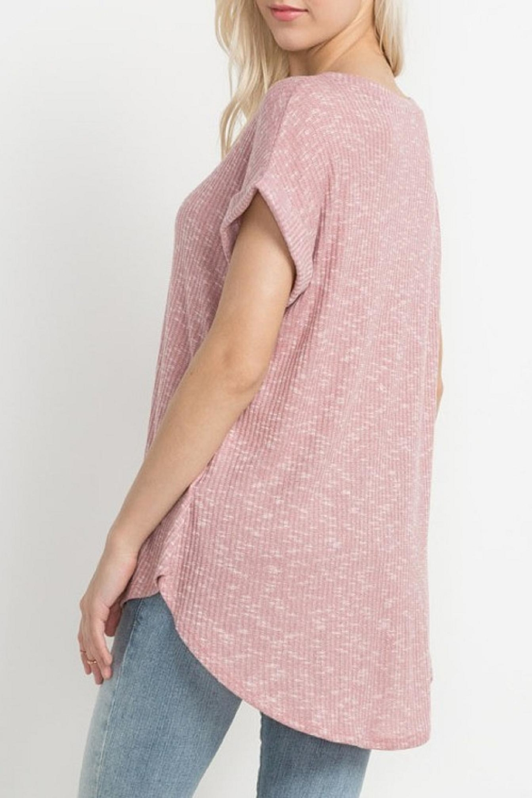 Mittoshop Blush Ribbed Tee - Side Cropped Image