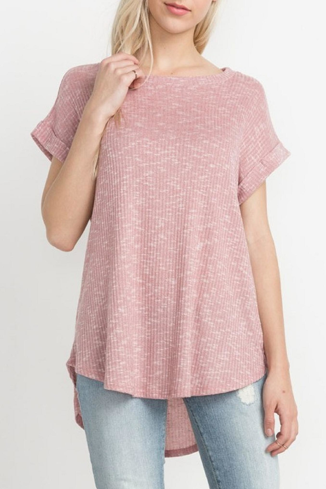 Mittoshop Blush Ribbed Tee - Front Cropped Image