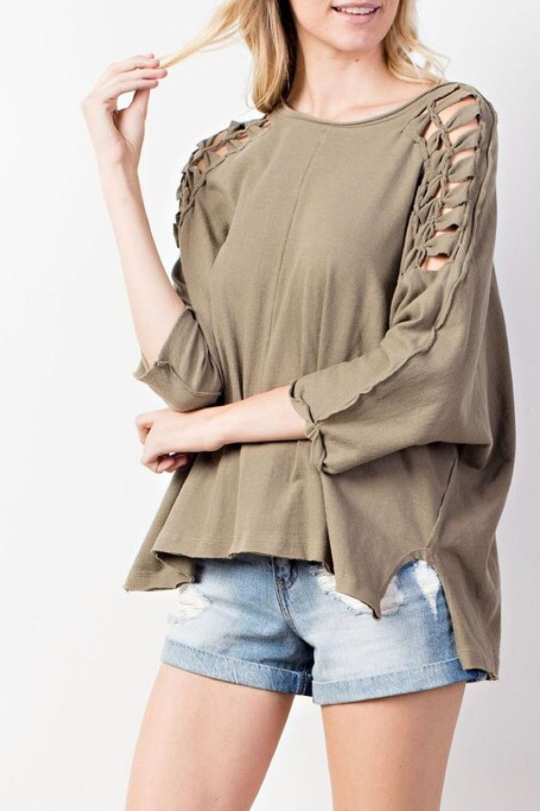 Mittoshop Braided Shoulder Top - Back Cropped Image