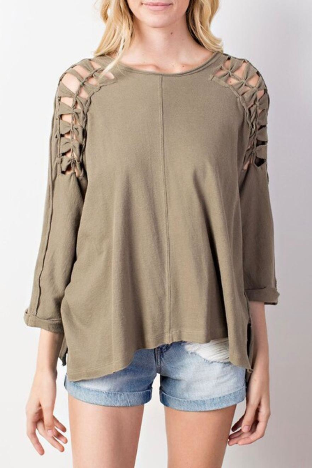 Mittoshop Braided Shoulder Top - Front Cropped Image