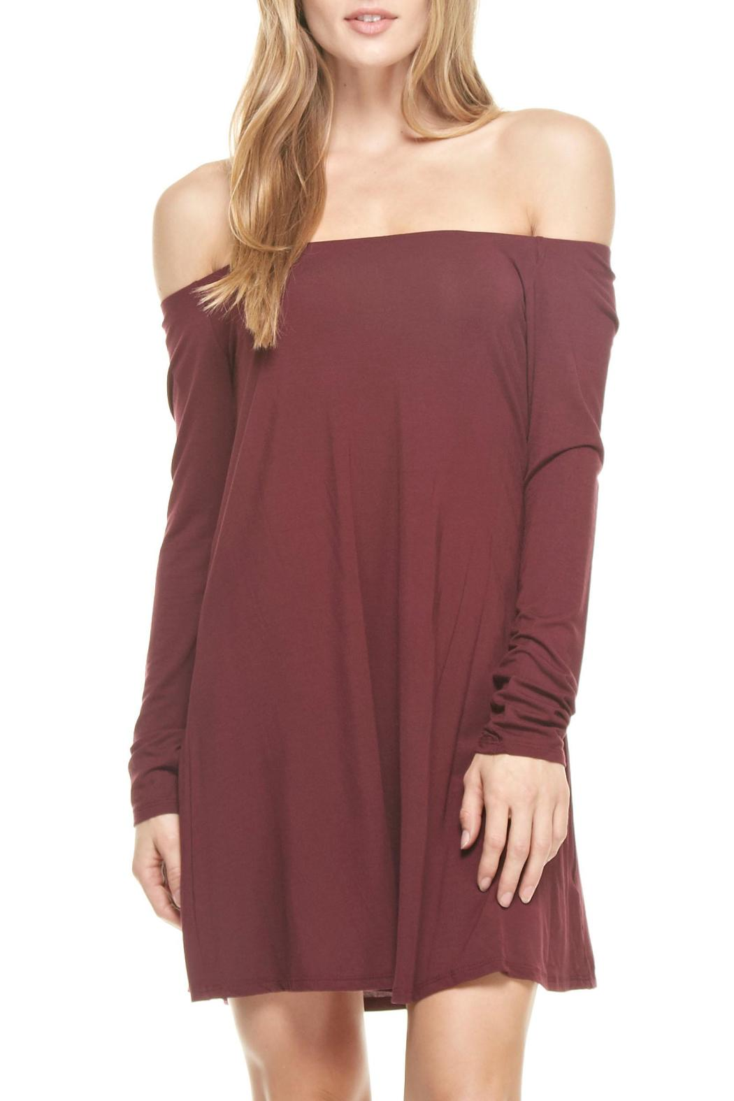 mittoshop burgandy off shoulder dress from california by apr