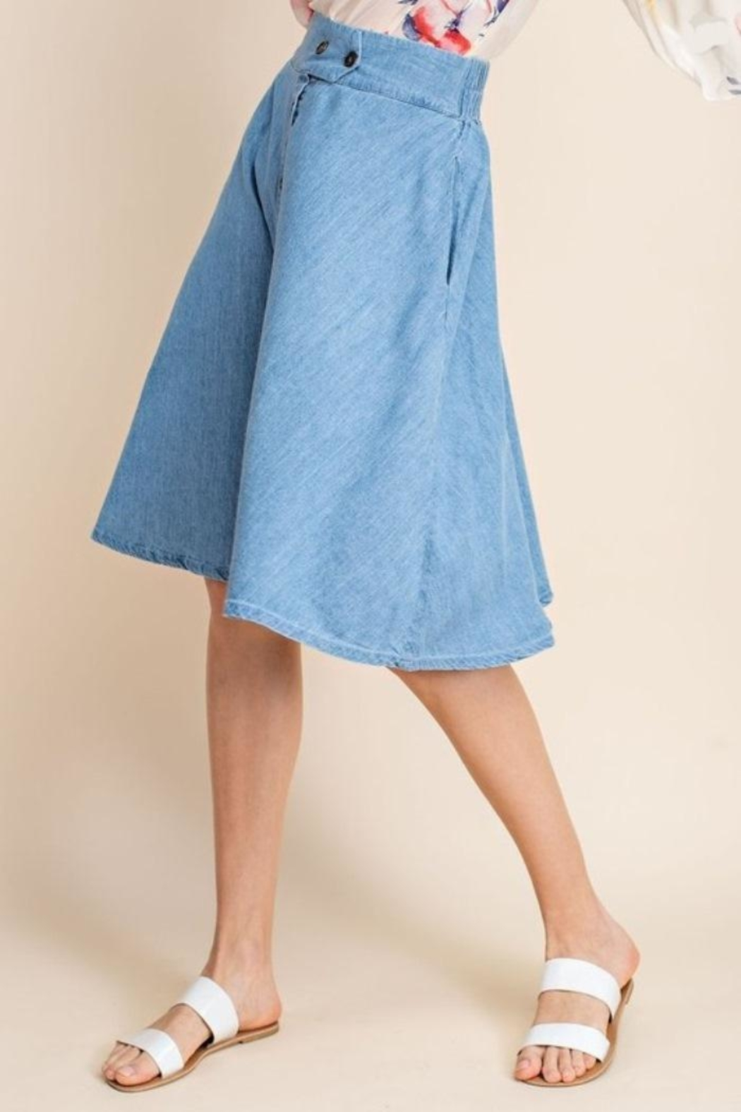 Mittoshop Chambray Skirt - Side Cropped Image