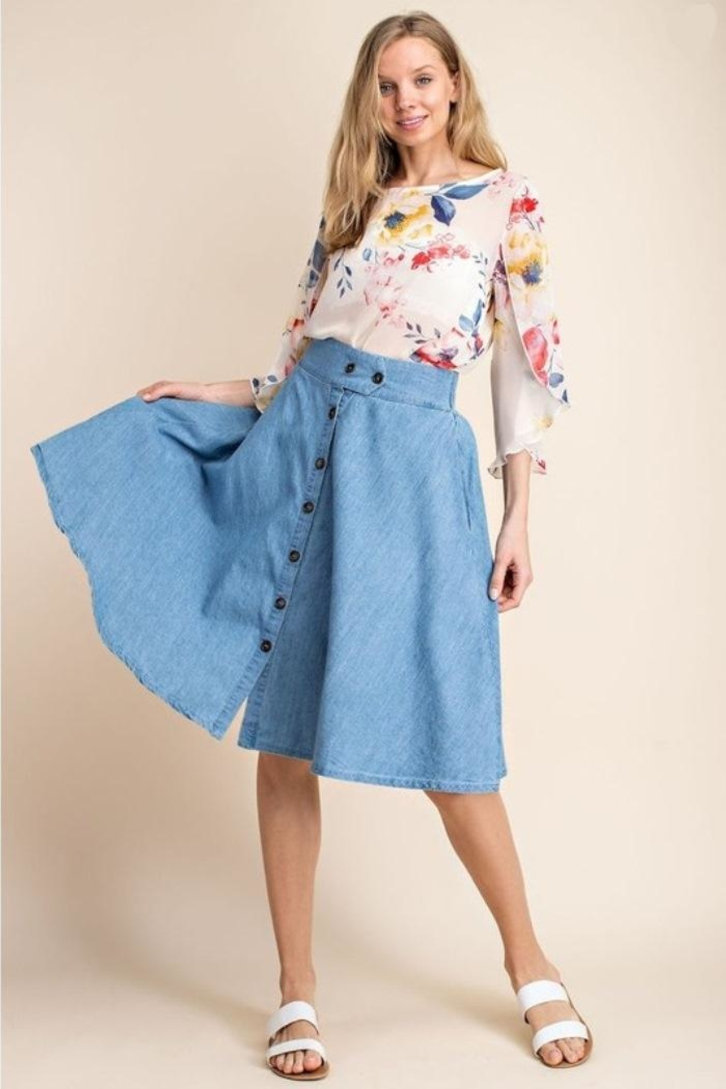 Mittoshop Chambray Skirt - Front Full Image