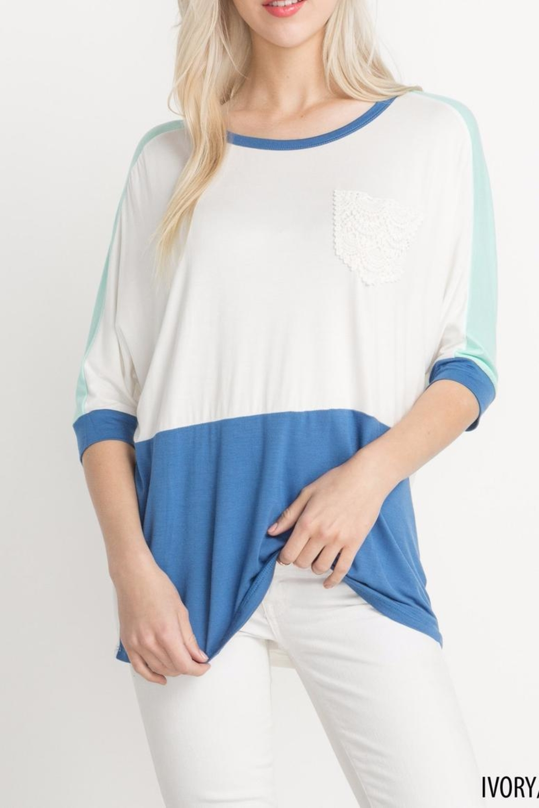 Mittoshop Colorblock Lace Longsleeve Top - Main Image