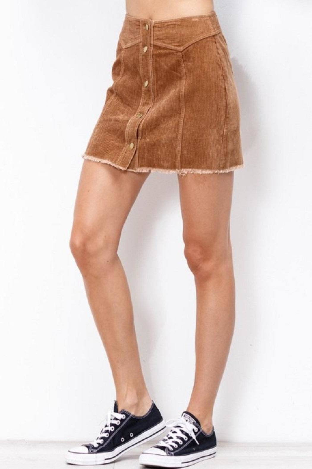 Mittoshop Corduroy Skirt Camel - Back Cropped Image