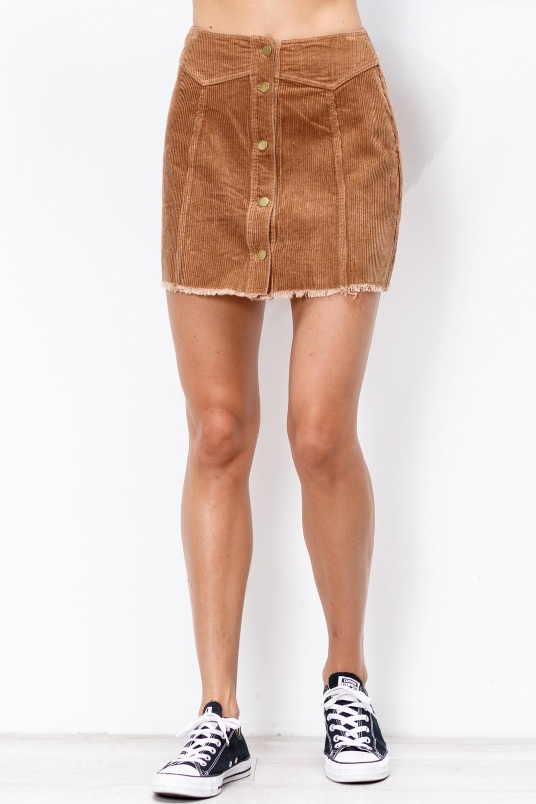 Mittoshop Corduroy Skirt Camel - Side Cropped Image