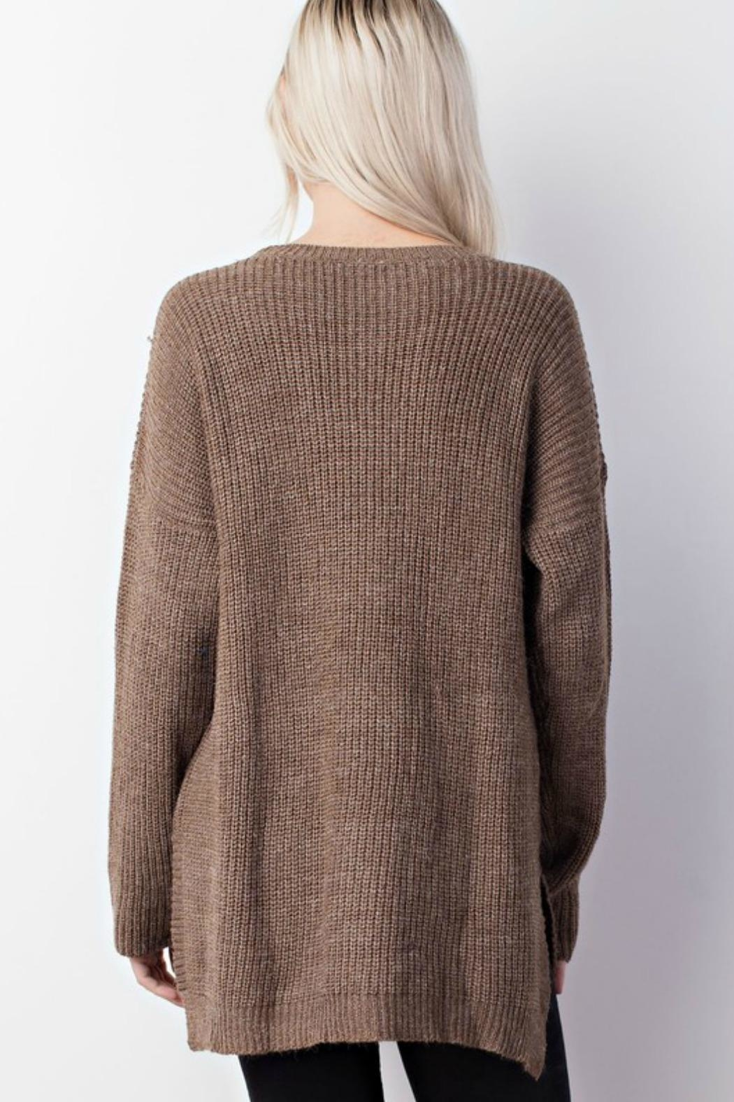Mittoshop Distressed Oversized Sweater - Back Cropped Image