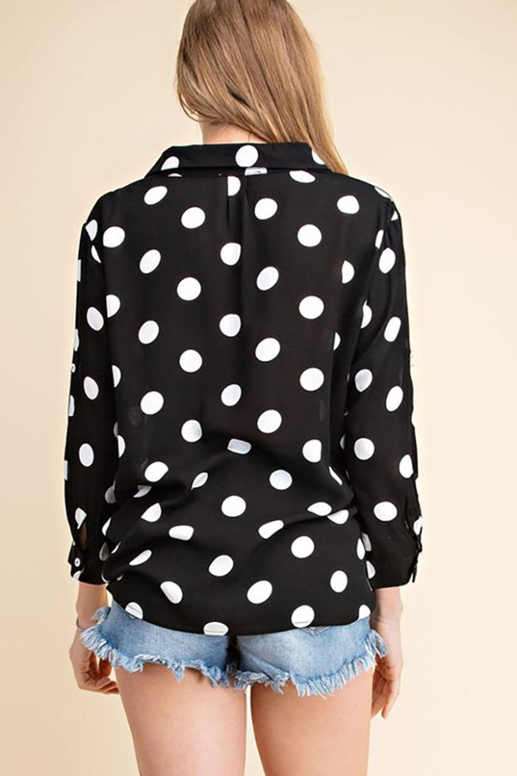Mittoshop Dot Pattern Surplice Woven Shirt Top - Front Full Image
