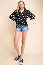 Mittoshop Dot Pattern Surplice Woven Shirt Top - Other