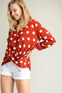 Mittoshop Dot Pattern Surpliced Woven Shirt Top - Product List Image