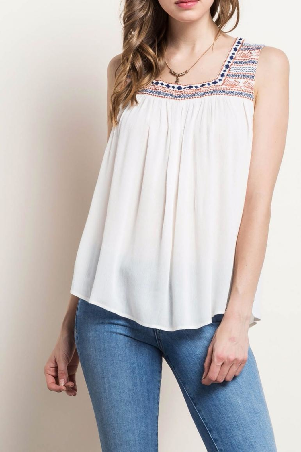 Mittoshop Embroidered Peasant Tank - Front Cropped Image