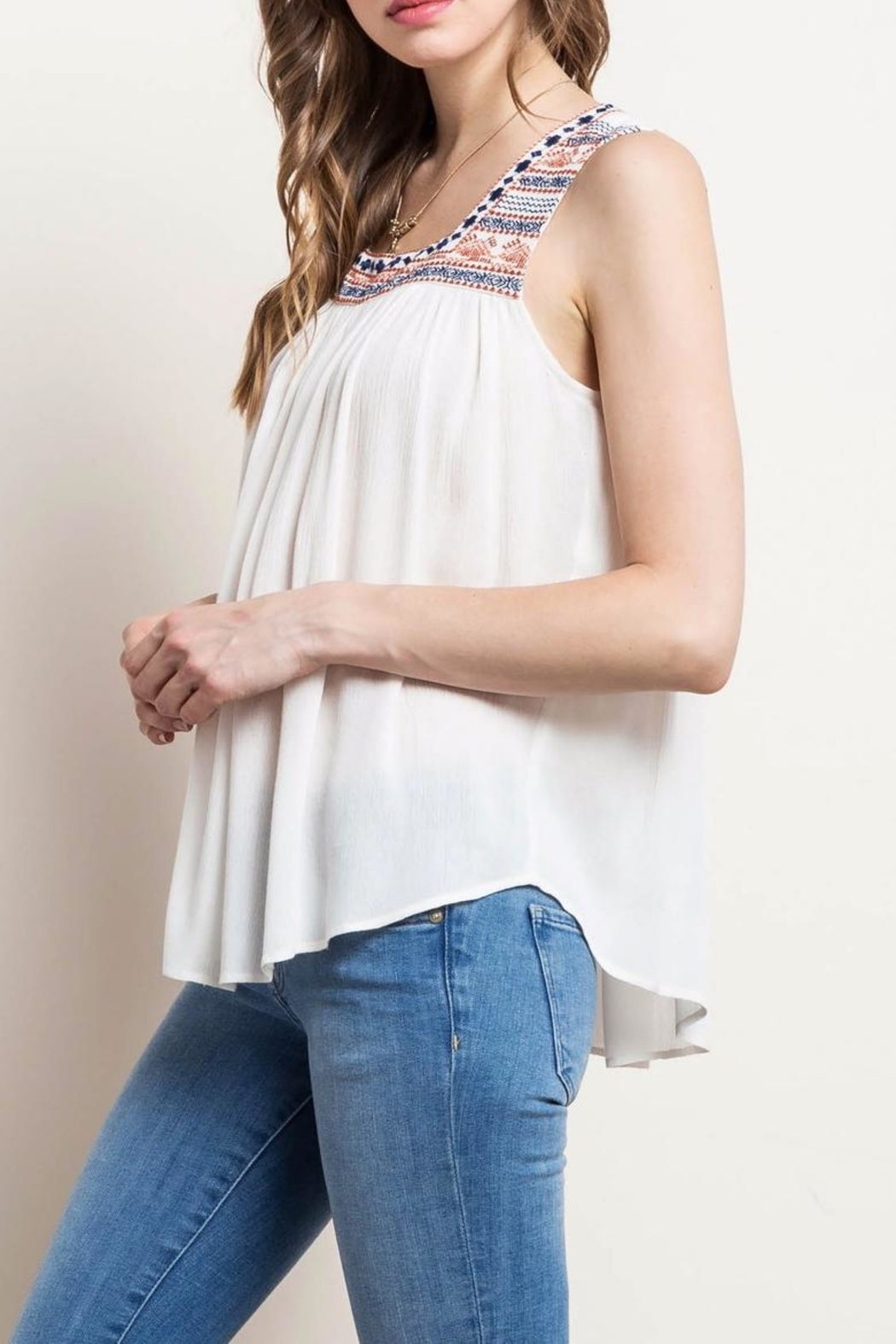 Mittoshop Embroidered Peasant Tank - Side Cropped Image