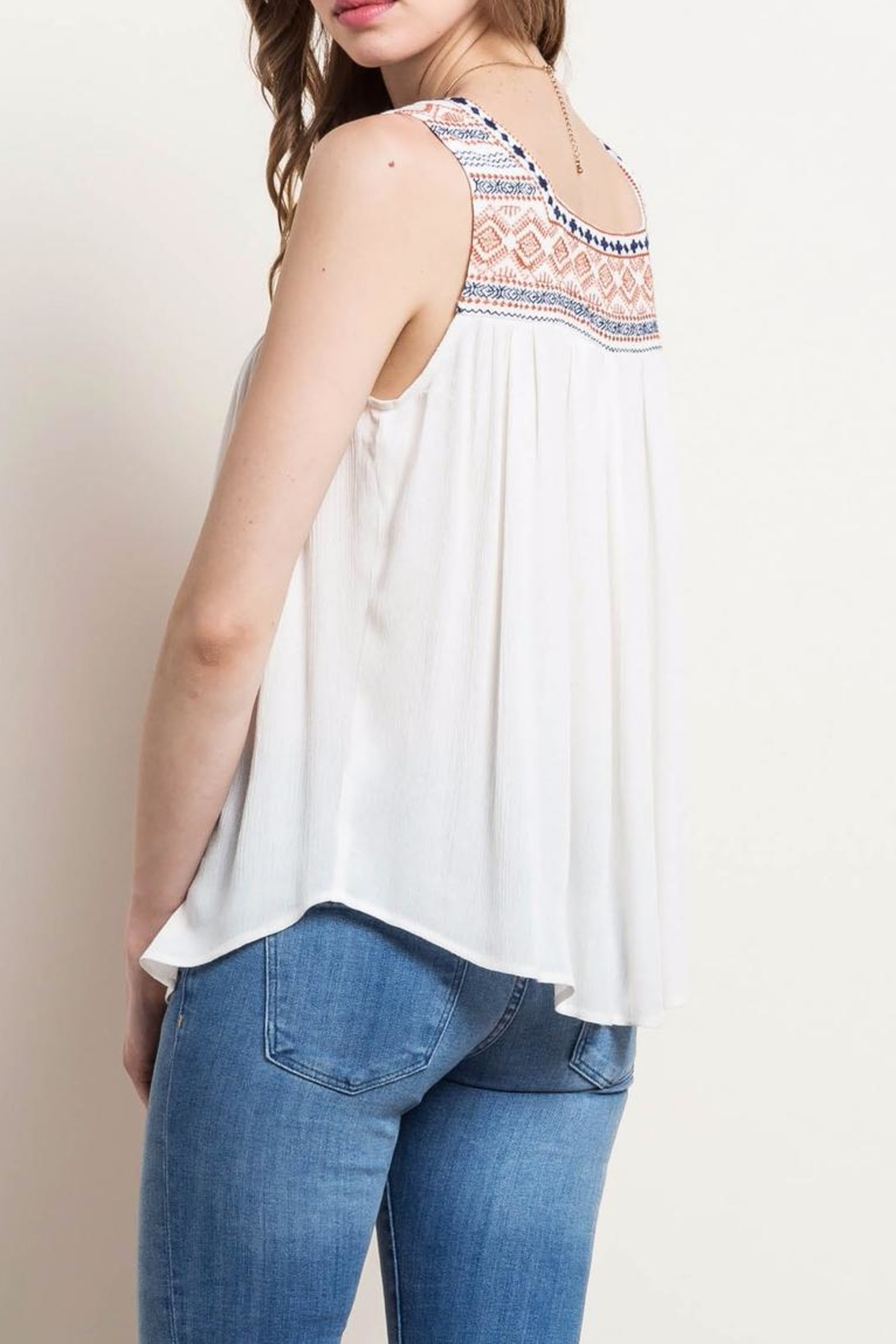 Mittoshop Embroidered Peasant Tank - Front Full Image