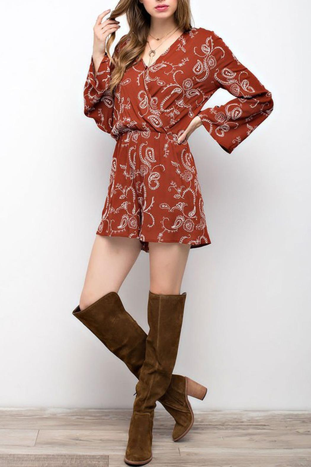 Mittoshop Embroidery Bell-Sleeve Romper - Front Cropped Image