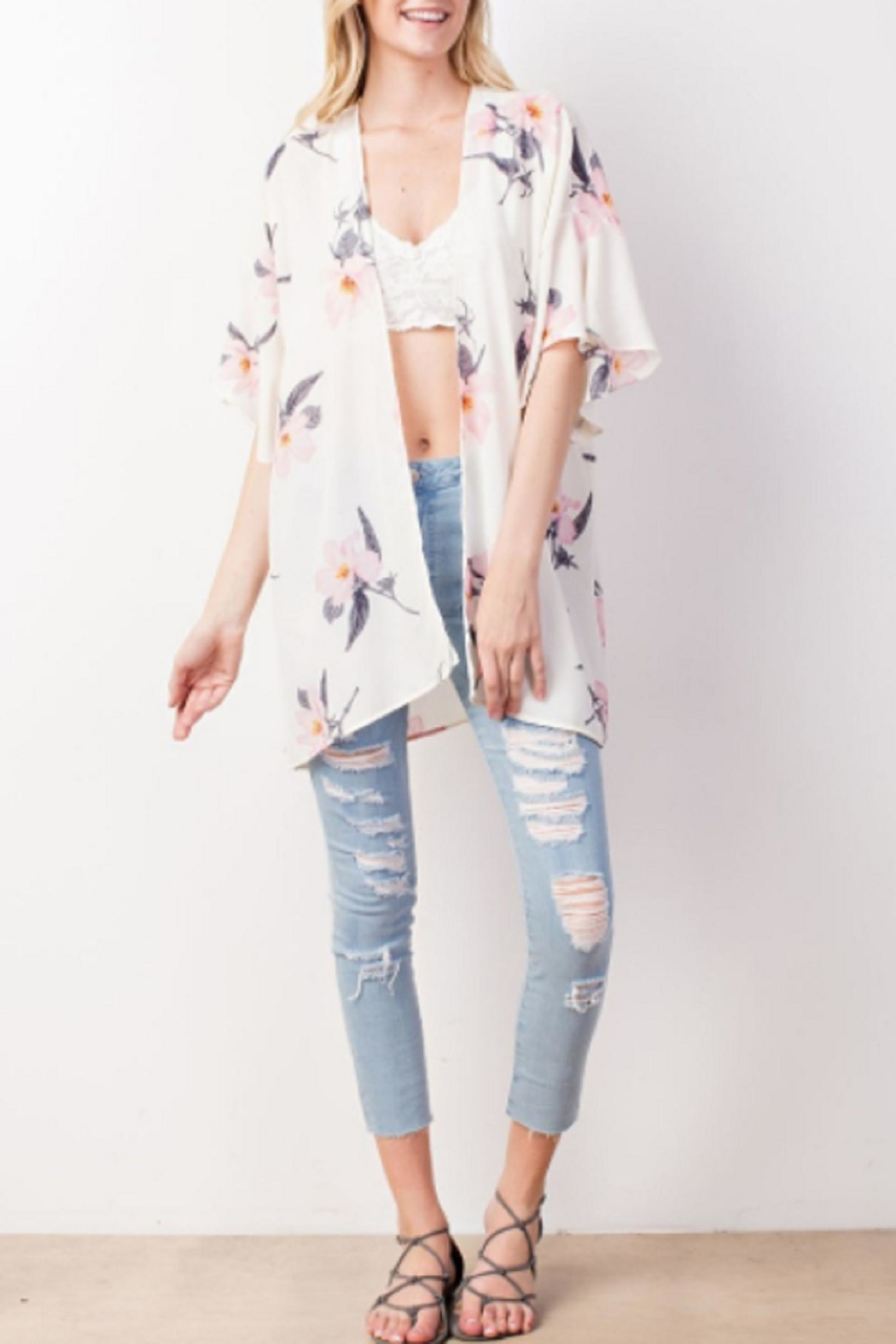 Mittoshop Ivory Floral Kimono - Front Cropped Image