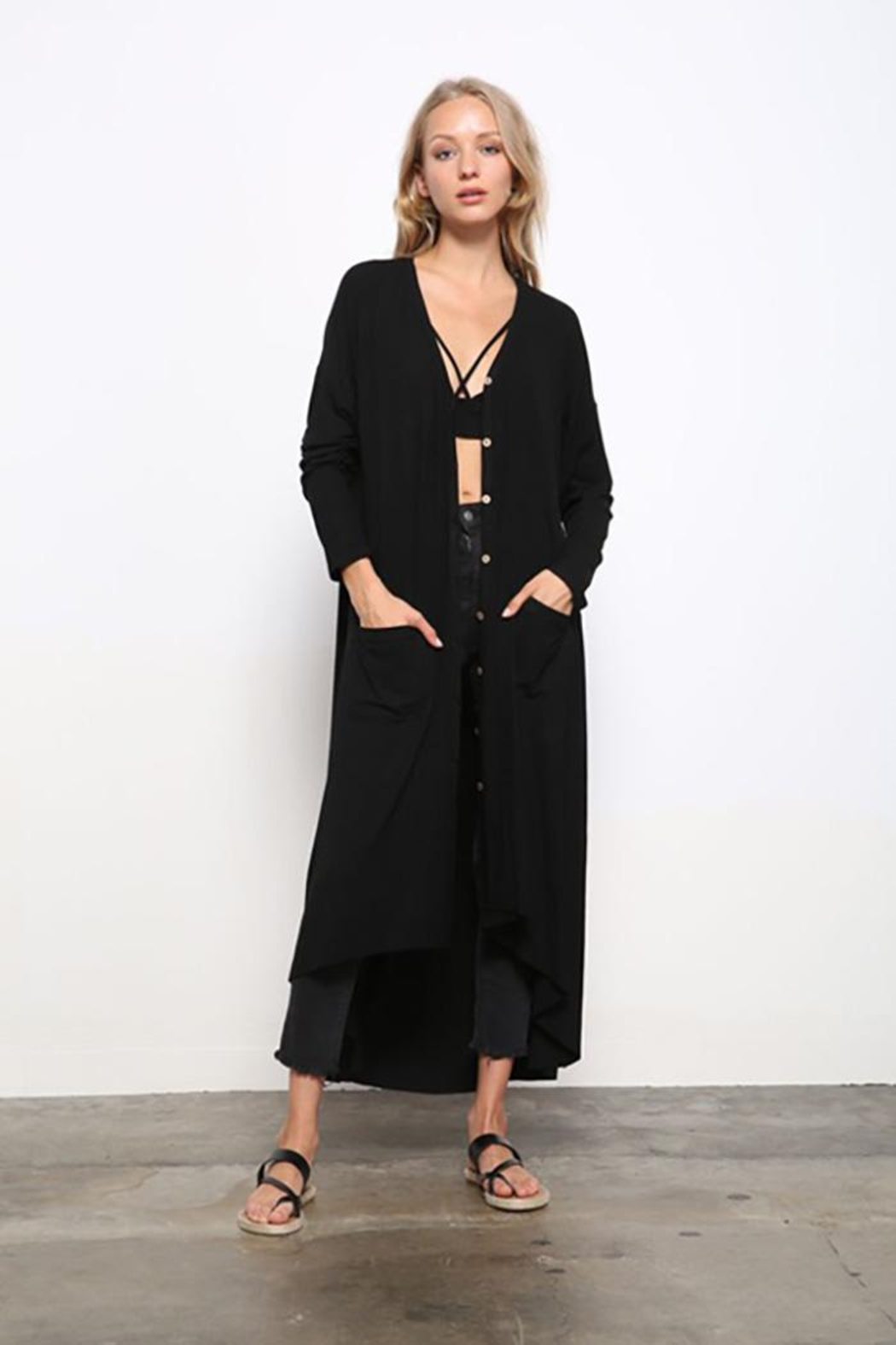 Mittoshop Light Weight Rib Duster Cardigan - Back Cropped Image