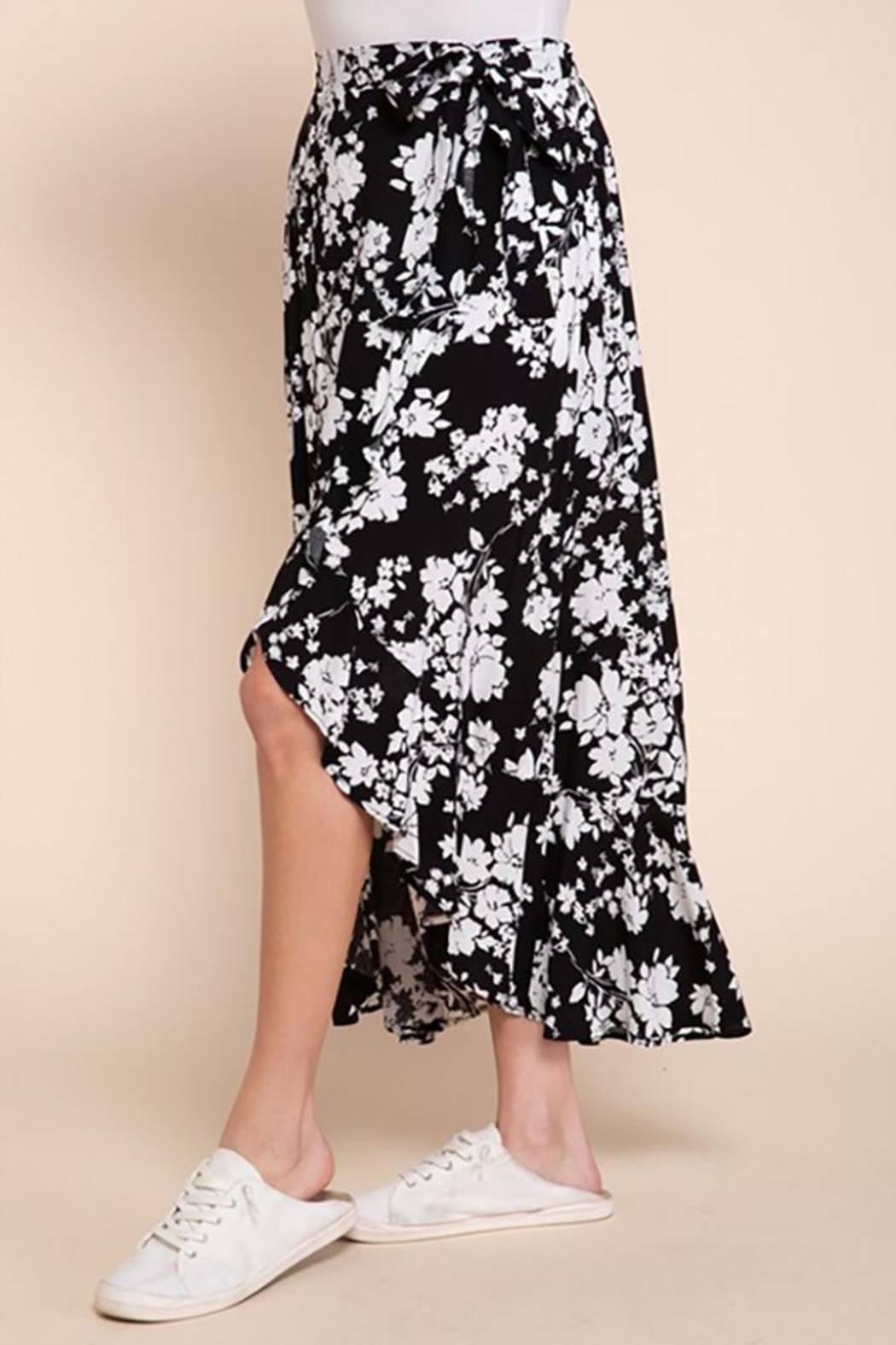 Mittoshop Mono Floral Surpliced Woven Wrap Maxi Skirt - Side Cropped Image