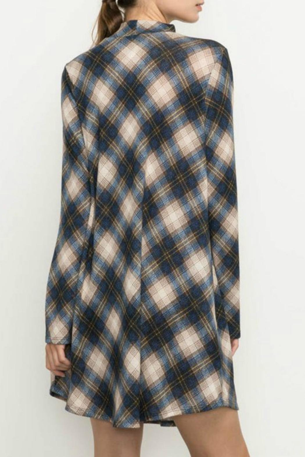 Mittoshop Navy Plaid Dress - Side Cropped Image