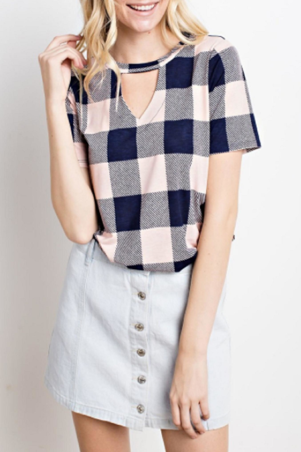 Mittoshop Plaid Cutout Top - Main Image