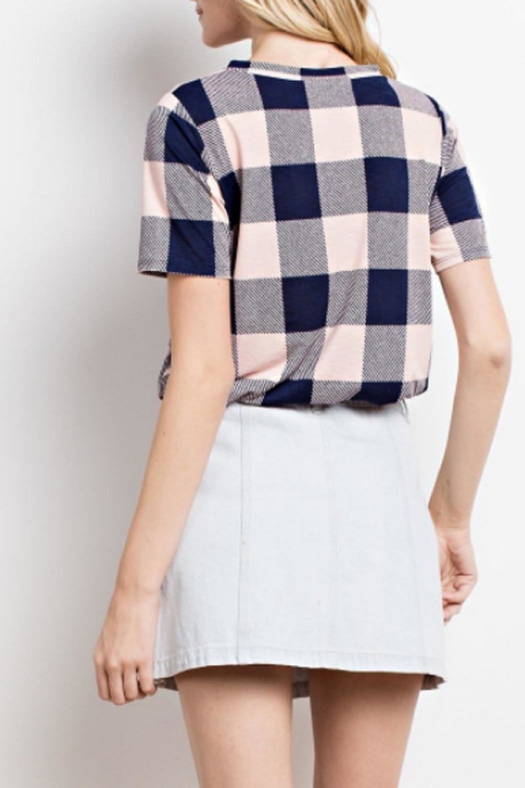 Mittoshop Plaid Cutout Top - Front Full Image