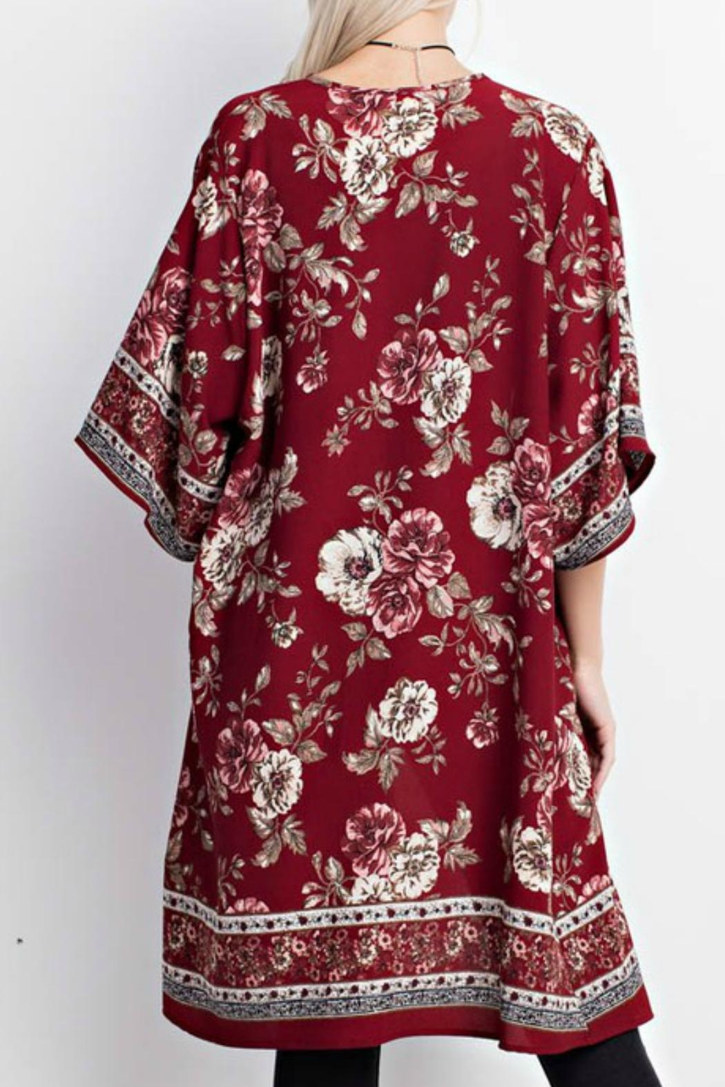 Mittoshop Red Floral Kimono - Front Full Image