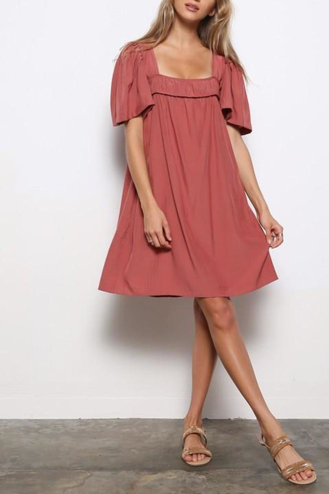 Mittoshop Square-Neckline Tunic Dress - Front Cropped Image