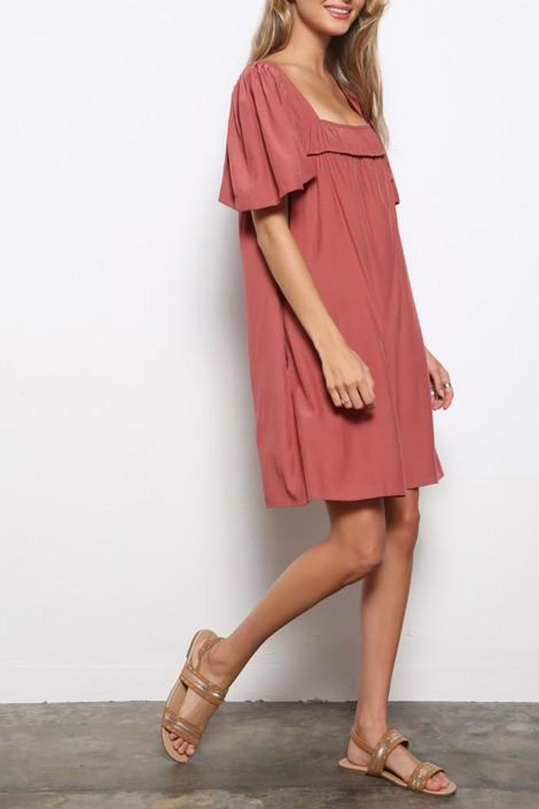 Mittoshop Square-Neckline Tunic Dress - Back Cropped Image