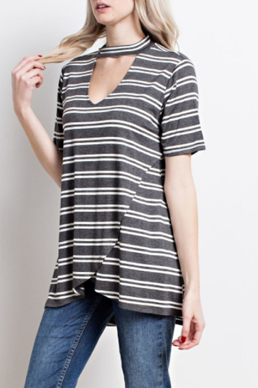Mittoshop Striped Cutout Top - Side Cropped Image