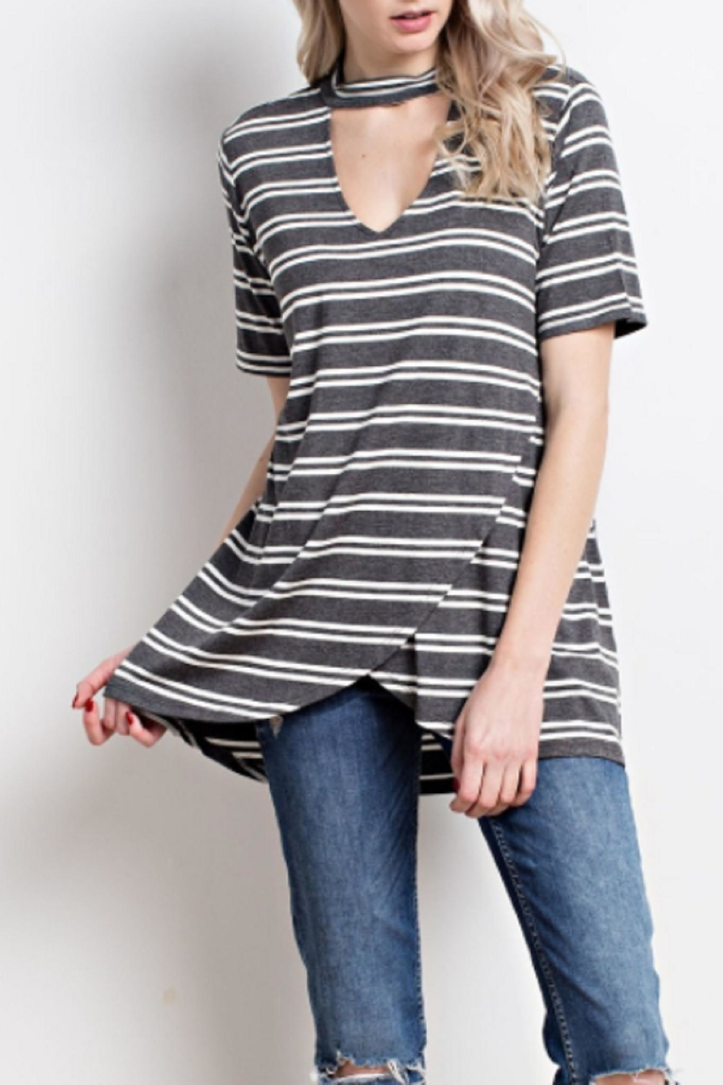Mittoshop Striped Cutout Top - Front Full Image