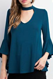 Mittoshop Teal Choker Blouse - Front cropped