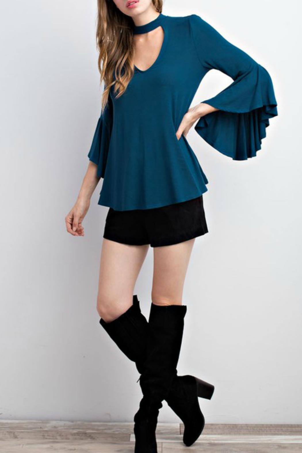 Mittoshop Teal Choker Blouse - Side Cropped Image