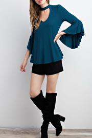 Mittoshop Teal Choker Blouse - Side cropped