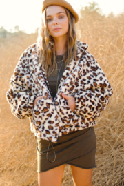 LA MIEL  Miu Fleece Leopard Jacket - Product Mini Image